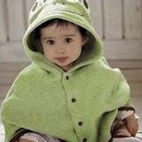 Áo khoác choàng nỉ mỏng ếch xanh rêu  Size:  0 - 3 tuổi