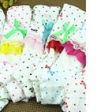 Quần chíp đùi cotton 4 chiều hình chấm bi kết nơ  Size:  M(2-4 tuổi), L(4-7 tuổi)