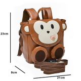 balo khỉ con. chất liệu da PU, có dây dắt bé kèm theo  Size: 23 * 21 * 8cm
