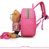 chi tiết  balo gấu hồng sọc hồng hiệu OEM; chất liệu: bên trong lót vải dù, ko thấm ướt. gấu có thể tháo rời    Size:  22 x 9 x 23 cm