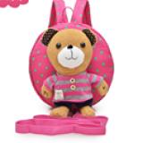 balo gấu hồng sọc hồng hiệu OEM; chất liệu: bên trong lót vải dù, ko thấm ướt. gấu có thể tháo rời    Size:  22 x 9 x 23 cm