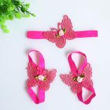 set nơ đeo chân  và băng đô bướm hồng  Size: free size