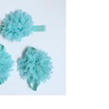 set nơ đeo chân và băng đô hoa xanh  Size: free size