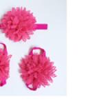 set nơ đeo chân và băng đô hoa hồng đậm  Size: free size