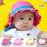 nón bèo chấm bi hoa( 4 màu như hình)  Size:  6 tháng- 2 tuổi
