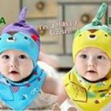set nón thun+ khăn tam giác hình thú(màu xanh, vàng, cam, hồng)  Size:  6 tháng-2 tuổi