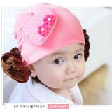 nón len tóc giả bông tim 2 hoa  Size:  3-18 tháng