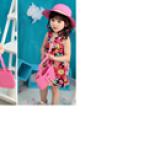 set nón vành rộng gắn hoa phong cách Hàn Quốc + túi xách  Size:  1-5 tuổi(46-50cm)