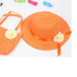 set nón vành rộng gắn hoa phong cách Hàn Quốc + túi xách cam  Size:  1-5 tuổi(46-50cm)