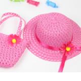 set nón vành rộng gắn hoa phong cách Hàn Quốc + túi xách hồng đậm  Size:  1-5 tuổi(46-50cm)