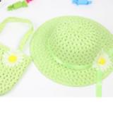 set nón vành rộng gắn hoa phong cách Hàn Quốc + túi xách xanh cốm  Size:  1-5 tuổi(46-50cm)