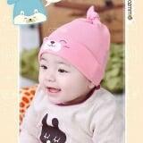 nón thun gấu ngủ hồng  Size:  3 tháng-2 tuổi