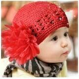 mũ len lưới đính hoa đỏ  Size:  trên 6 tháng