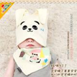 set nón thun+ khăn tam giác hình gấu con  Size:  6 tháng-2 tuổi