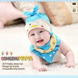 set nón thun+ khăn tam giác hình vịt xanh  Size:  6 tháng-2 tuổi