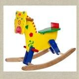 Bập bênh ngựa gỗ nhỏ Bằng gỗ sơn màu, phù hợp với trẻ dưới 36 tháng tuổi  Size: 75 x 30 x 55 cm