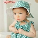 nón rộng vành chấm bi nhỏ  Size:  6 tháng-3 tuổi