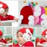 mũ len tai thỏ(hồng đậm, hồng nhạt, đỏ, vàng, đen)  Size:  5 tháng- 18tháng