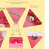 chi tiết túi xách có nắp đính nơ hiệu LEMONKID, phong cách Sweet Lady Hàn quốc, chất liệu PU da  Size:  mini