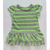 Áo váy sọc nhún bèo màu dạ quang PLACE - VNXK  Size:  8 - 16 kg (6 tháng - 4 tuổi)