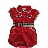 Đầm bí cổ sen dây nịt màu đỏ - Burbery  Size:  14 - 25kg