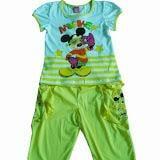 Bộ cotton tay phồng quần lững túi in hình chuột Mickey - VN   Size:  6 tuổi đến 14 tuổi