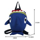 balo cá mập, co dây kèm theo để giữ bé  Size: 21cm * 15cm * 9,5cm