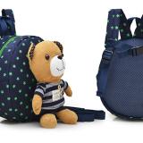 balo gấu xanh sọc xanh hiệu OEM; chất liệu: bên trong lót vải dù, ko thấm ướt. gấu có thể tháo rời, có dây kèm theo để giữ bé :) :)  Size: 22 x 9 x 23 cm