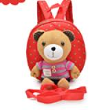 balo gấu đỏ sọc hồng hiệu OEM; chất liệu: bên trong lót vải dù, ko thấm ướt. gấu có thể tháo rời có dây kèm theo để giữ bé :)  Size: 22 x 9 x 23 cm