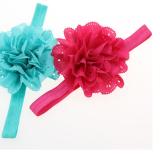 chi tiết băng đô hoa vải nhiều tầng thun co giãn tốt  Size: chi vi 34cm, rộng 1,5cm, đường kính hoa 10cm