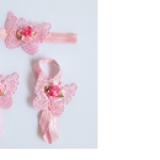 set nơ đeo chân và băng đô bướm hồng nhạt  Size: free size