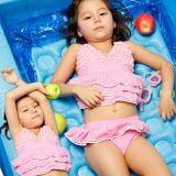 Set áo bơi kết hoa hồng + quần váy  Size:  15 - 35 kg