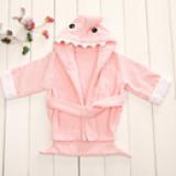 Áo choàng tắm hiệu OEM cao cấp cá mập hồng  Size: 0-3 tuổi, dưới 105cm , 100% cotton