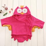 Áo choàng tắm hiệu OEM cao cấp chim cú hồng  Size: 0-3 tuổi, 54 * 43 * 45cm , 100% cotton