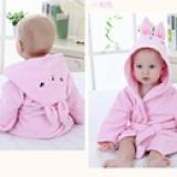 Áo choàng tắm hiệu OEM cao cấp thỏ hồng  Size: 0-3 tuổi, dưới 105cm , 100% cotton
