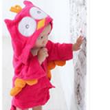 Áo choàng tắm hiệu OEM cao cấp chim cú hồng  Size: 0-3 tuổi, dưới 105cm , 100% cotton
