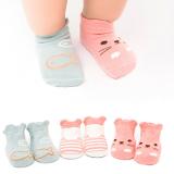 set 3 đôi vớ hoạt hình chống trượt  Size: 0-4 tuổi
