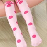 vớ cotton chấm bi to Hàn Quốc cao ngang gối hồng nhạt  Size: 1-8 tuổi