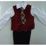 Bộ ghi lê caravat đỏ GEOGLE - xuất Đức (chất rất đẹp - vải cotton, quần lưng thun)  Size:  8 - 18 kg