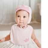 set mũ vương miện và yếm design Hàn Quốc, 100%cotton  Size: 0-9 tháng ,mũ  12x15cm,Yếm:  17cmx 25cm