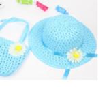 set nón vành rộng gắn hoa phong cách Hàn Quốc + túi xách xanh biển  Size: 1-5 tuổi(46-50cm)