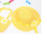 set nón vành rộng gắn hoa phong cách Hàn Quốc + túi xách vàng  Size: 1-5 tuổi(46-50cm)