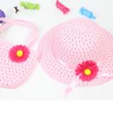 set nón vành rộng gắn hoa phong cách Hàn Quốc + túi xách hồng nhạt  Size: 1-5 tuổi(46-50cm)