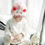 nón vải cotton mềm lật vành gấu Hello  Size: 6 tháng- 3tuổi