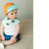 nón vải cotton mềm lật vành vương miện Happy  Size: 9 tháng-3 tuổi