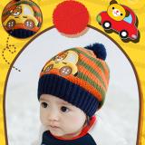 Mũ len (nón len)sọc ô tô- style Hàn Quốc  Size: 34-48cm, cao 19cm chưa tính bông tròn (6 tháng-3 tuổi)