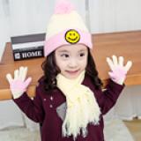 set mũ len, khăn và bao tay mặt cười  Size: 6-48 tháng, vòng đầu 40-52cm, khăn 94 x 18cm, bao tay dài 14 x 9.5cm