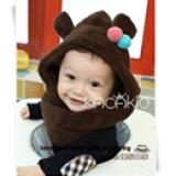 mũ bông liền cổ gấu con  Size: 6 thang- 4 tuổi, vòng đầu 40-48cm,