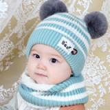 set Mũ 2 Bông tròn kẻ sọc( len dệt kim lót nhung)  Size: 3-30 tháng