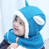 mũ choàng cổ tai  gấu (len dệt kim lót nhung)  Size: 5-36 tháng (45-51cm)